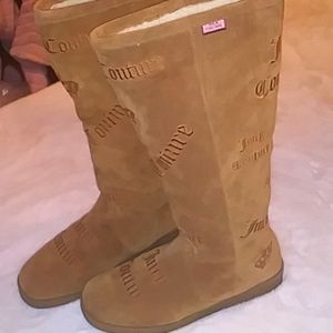Vintage Juicy Couture Suede Knee High Fold Over Boots size 8.5